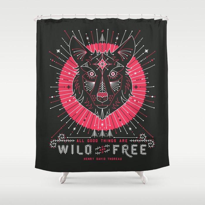 Wild & Free Wolf – Pink & Black Palette Shower Curtain
