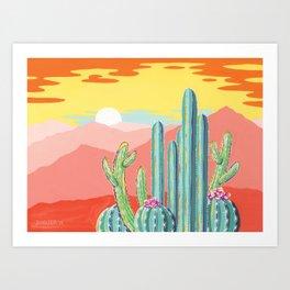 Wild Barrel Cacti Sunset Art Print