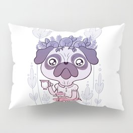 Tea Time for Pug Pillow Sham