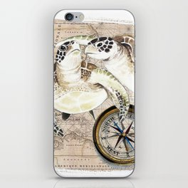 Sea Turtles Compass Map iPhone Skin