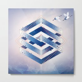 Indigo Hexagon :: Floating Geometry Metal Print