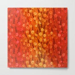 Dandelions Field, Floral Pattern, Tiny Flowers, Scarlet Saffron  Metal Print
