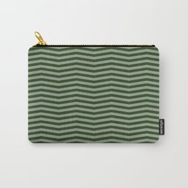 Dark Forest Green Chevron Zigzag Stripes Carry-All Pouch