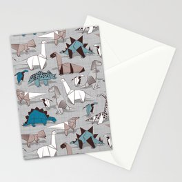 Origami dino friends // grey linen texture blue dinosaurs Stationery Cards