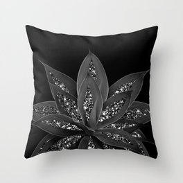 Gray Black Agave with Black Silver Glitter #2 #shiny #tropical #decor #art #society6 Throw Pillow