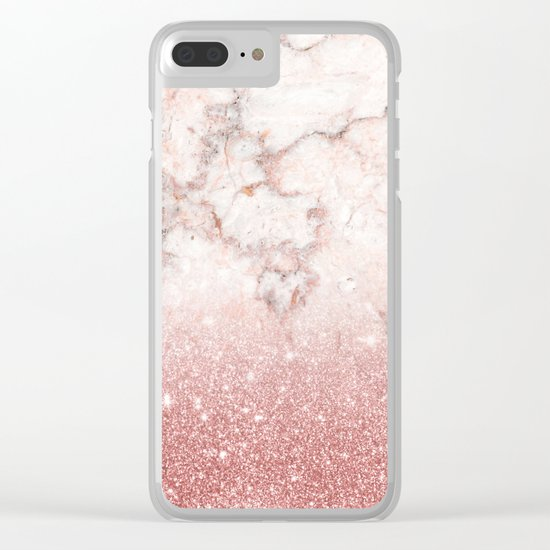 Elegant Faux Rose Gold Glitter White Marble Ombre Clear iPhone Case