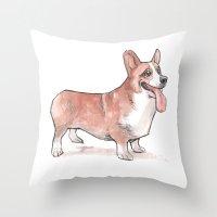 corgi Throw Pillows featuring corgi by Joël Jurion