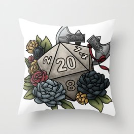 Barbarian Class D20 - Tabletop Gaming Dice Throw Pillow