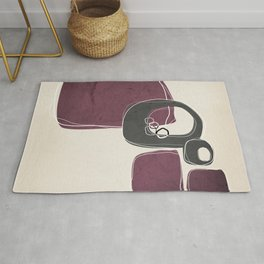 Retro Abstract Design in Charcoal Grey and Mulberry Rug