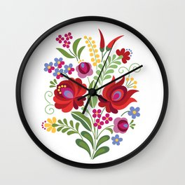 Hungarian Folk Design Red Wall Clock