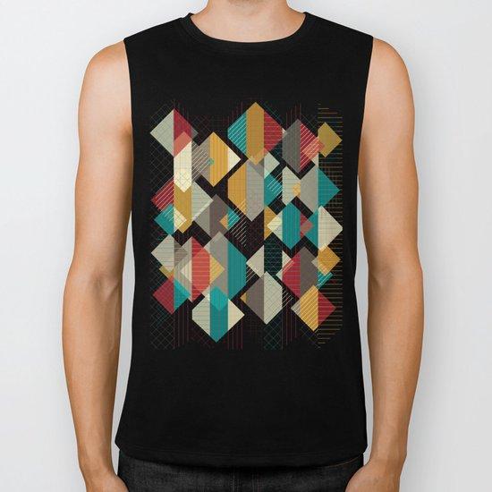 Geometric Geek Pattern - Squares, Stripes, Grids Biker Tank