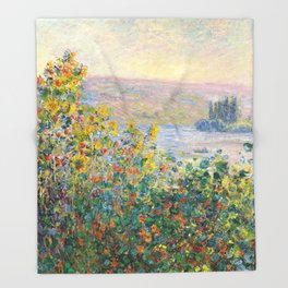 Flower Beds at Vétheuil by Claude Monet 1881 Throw Blanket