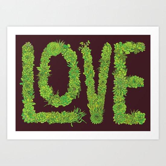 Succulent Love Art Print