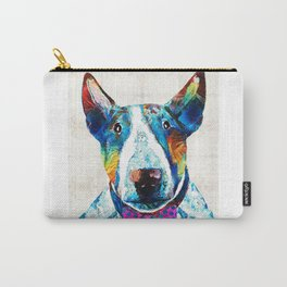 Colorful Bull Terrier Dog Art by Sharon Cummings Carry-All Pouch