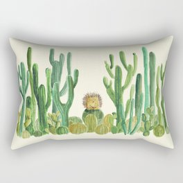 In my happy place - hedgehog meditating in cactus jungle Rectangular Pillow