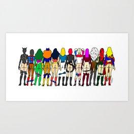 Superhero Butts - Girls - Row Version - Superheroine Kunstdrucke
