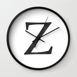 Letter Z Initial Monogram Black and White Wall Clock