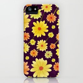 Yellow dots, Yellow Flower, Floral Pattern, Yellow Blossom iPhone Case