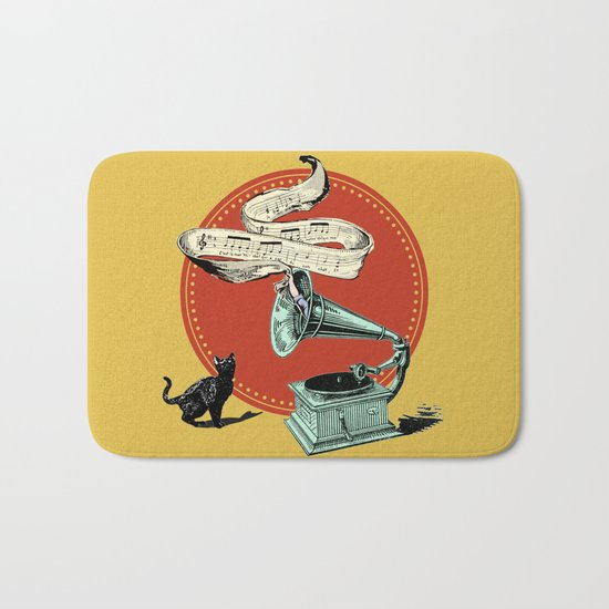 The Cat and the Cat Song (red) Bath Mat
