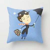 mary poppins Throw Pillows featuring Mary Poppins by Rod Perich