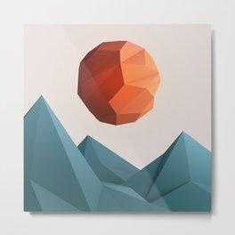Low Poly Mountain Metal Print