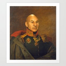 Sir Patrick Stewart - replaceface Art Print