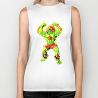 street fighter Biker Tanks featuring Street Fighter II - Blanka by Carlo Spaziani