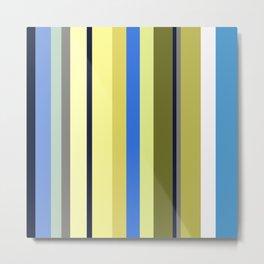 Blue and Moss Stripes Metal Print