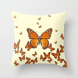 MONARCH BUTTERFLY SWARM Throw Pillow