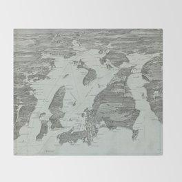 Vintage Pictorial Map of Narragansett Bay (1907) Throw Blanket