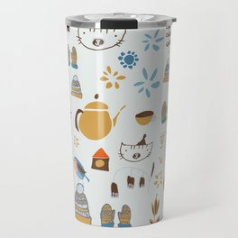hygge cat and bird gray Travel Mug