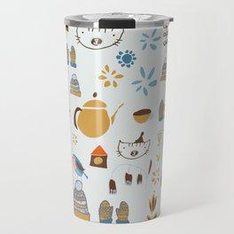 hygge cat and bird gray Travel Mug