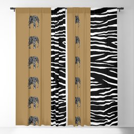 Zebra Elephant Safari Blackout Curtain