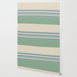 Mint Green Cream Stripes Wallpaper