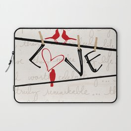 Love Letters Red Bird Clothesline A713 Laptop Sleeve