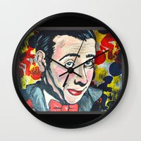 pee wee Wall Clocks featuring Pee Wee by Portraits on the Periphery