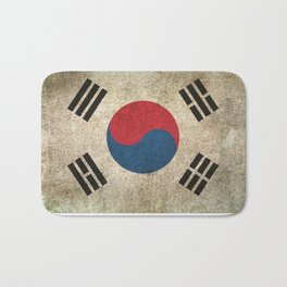 Old and Worn Distressed Vintage Flag of South Korea Bath Mat