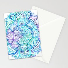 Iridescent Aqua and Purple Watercolor Mandala Stationery Cards