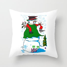 A Snowman (Snow Woman) in a Red Scarf Throw Pillow