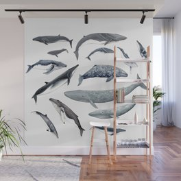 Whales all around Wall Mural