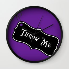 """""""Throw Me"""" Alice in Wonderland styled Bottle Tag Design in 'Shy Violets' Wall Clock"""