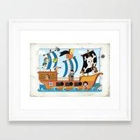 pirate ship Framed Art Prints featuring Pirate ship by Michaela Heimlich