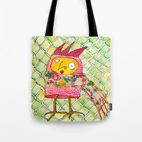 chicken Tote Bags featuring Chicken by Dawn Patel Art