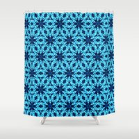 knitting Shower Curtains featuring blue Knitting by clemm