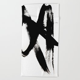 Brushstroke 2 - simple black and white Beach Towel