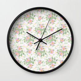 Pink Dogroses on White Wall Clock