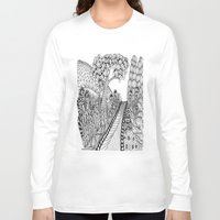 zentangle Long Sleeve T-shirts featuring Zentangle Illustration - Road Trip by Vermont Greetings