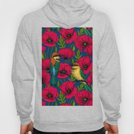 Bee eaters and poppies Hoody