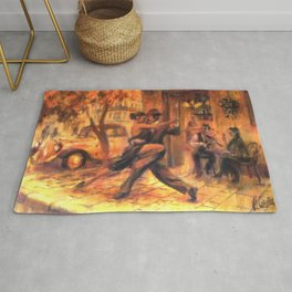 Couple dancing tango painting Rug