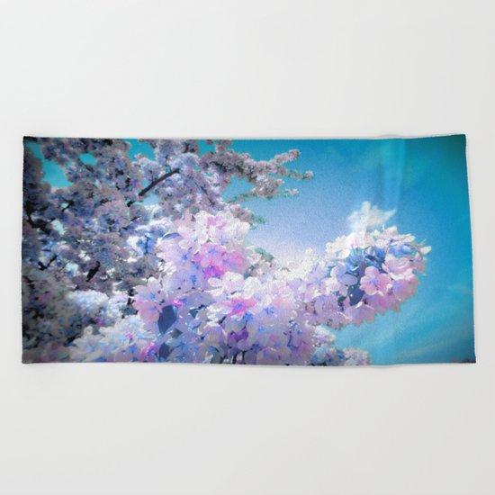 Lavender Teal Flowers Aqua Sky Beach Towel